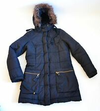 Joules Down and Feather black coat with fur hood size 10 vgc