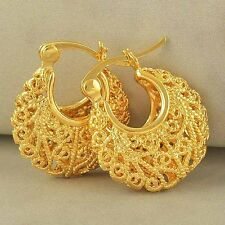 Yellow Gold Filled cute Openwork womens girls Children Hoop Earrings Fashion