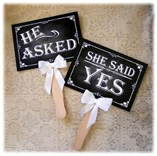 Engagement Sign Photo Props - He asked, She said Yes - Chalkboard Style signs
