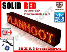 "RED - 38""X6.3"" LED PROGRAMMABLE SCROLLING SIGN - OUTDOOR (100% Water Proof)"