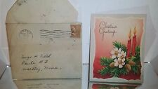 Vintage 1940s Christmas Card  TO SON IN THE SERVICE! W/ 1-1/2 cent stamp Envelop