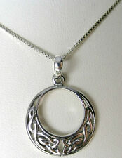 925 Sterling Silver Celtic Moon Pendant with Sterling Silver Chain, Solid Silver