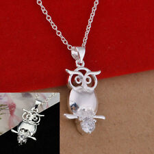 Retro Owl Silver Cute Pendant Necklace Chain Women Child Jewelry