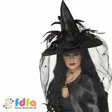 DELUXE BLACK WITCH HAT WITH NET & FEATHERS womens ladies halloween fancy dress