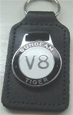 SUNBEAM TIGER V8 ENAMEL BADGED LEATHER KEYRING, KEY CHAIN, KEY FOB