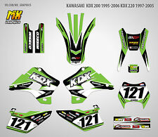 MX Graphics Stickers Kit Decals Kawasaki KDX 200 1995-2006 KDX 220 1997-2005
