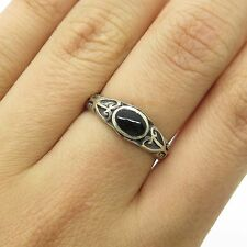 Vintage Sterling Silver Black Onyx Gem Carved Delicate Women's Ring Size 6