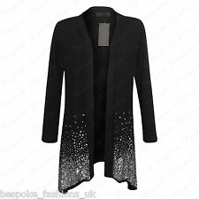 Women's Ladies Viscose Sequin Waterfall Drape Open Cardigan Top Plus Size 14-28