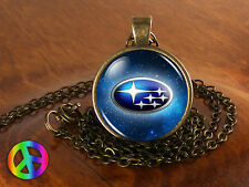 Subaru Antique Vintage Car Cars Silver Mens Womens Necklace Pendant Jewelry Gift