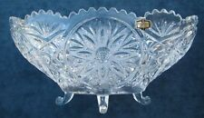 GORGEOUS VINTAGE LARGE CANOE SHAPED ZAJECAR LEAD CRYSTAL FOOTED BOWL