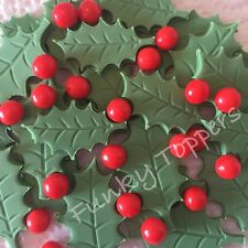 48 Piece Edible Christmas Holly Leaves  Berries Sugar Cup Cake Decoration Topper