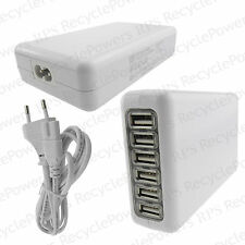 USB Power Adapter 6 Hub converter EU PLUG AC charger for iphone Samsung White