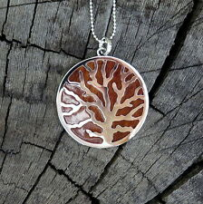Koa Wood Hawaii Jewelry Scroll Coral Tree Rhodium Plated Brass Pendant BRP1007
