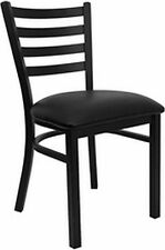 NEW METAL DESIGNER RESTAURANT CHAIRS W BLACK VINYL SEAT**** LOT OF 20 CHAIRS****