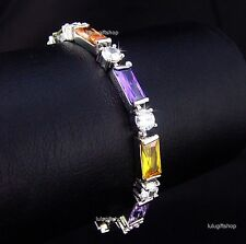 WHITE GOLD PLATED DIAMANTE COLOR BAGUETTE ROUND BRACELET USE SWAROVSKI CRYSTALS