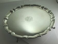 "Superb Vintage 1934 Heavy Solid Silver ""Pie Crust"" Salver Tray 1935"" [CS113]"