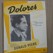 song sheet DOLORES Donald Peers 1941