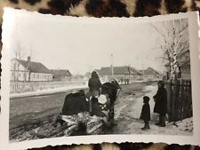 Foto 2.WK WW2 Wehrmacht In Polen / Russland Bevölkerung Flüchtet Mit Schlitten