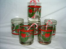 Christmas Chubby Glasses (6 in sale) with Candy Cane Stir Sticks