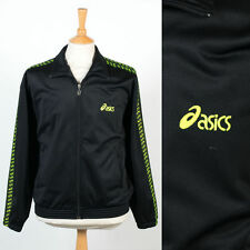 ASICS VINTAGE 90'S 00'S TRACKSUIT TOP JACKET BLACK & NEON GREEN WAVEY GARMS M