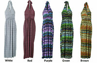 COLLECTION LONDON Womens Ladies Halter Neck Long Gown Party Summer Maxi Dress