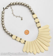 Chico's Signed Silver Tone Necklace Ivory Color Graduated Feather Egyptian Bib