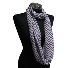 Chevron Sheer Infinity Scarf Purple/White Contrasting Colors Gift US Seller New