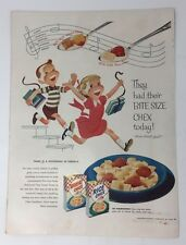 Original Print Ad 1954 RICE CHEX Difference in Cereals Vintage Artwork Bite Size