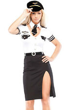 Pilot Captain, Air Hostess Dress Up Complete Costume - One Size (AU 8 - 12)