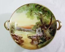 Vintage Hand Painted NIPPON PEDASTAL BOWL  Colorful Scene