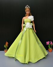 Green Gown Evening Party Outfit Handmade Costumes for Barbie, Dolls Dress up