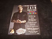 ZAYN MALIK 2016 congratulations ad for hit 'Mind of Mine', One Direction