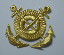 GOLD NAVY ANCHORS NAUTICAL Embroidered Iron Sew On Cloth Patch Badge  APPLIQUE