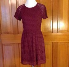 FREE PEOPLE Maroon BURGUNDY Size 4 LACE Lined Short Sleeve Dress Women Small S