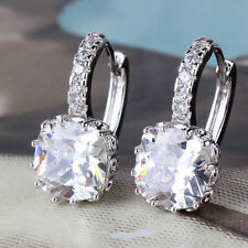 18ct white gold filled White Sapphire crystal hoop earrings leverback Topaz