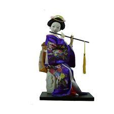Oriental Japanese 25cm Sitting Geisha Doll art decor Kimono Collectible