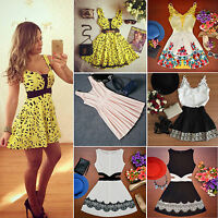 Summer Women Sleeveless Beach Sundress Party Evening Cocktail Mini Skater Dress
