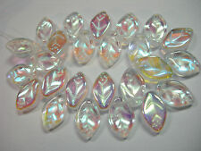 25 beads - Crystal AB Czech Glass Side Drilled Leaf Beads 5x12mm