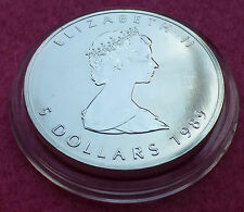 1989 CANADA  MAPLE LEAF $5 FIVE DOLLAR  SILVER  BU 1oz  COIN