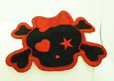 RED GIRL SKULL HEART BOW EMO ROCKABILLY IRON ON PATCH