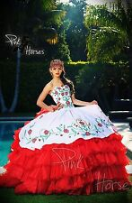 2016 New Red&white Quinceanera Dresses Ball Gown embroidery Bridal Gown