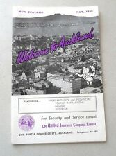 BOOKLET NEW ZEALAND WELCOME TO AUCKLAND  1958 w/CARTOON MAP  SHOPS HOTELS HISTOR