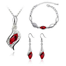 Bridal Jewellery Set Red Crystal Eyes Drop Earrings Necklace & Bracelet S317