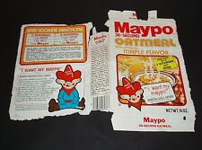 1981 Maypo Cereal Box paper wrapper w/ Marky Maypo Ad figure offer