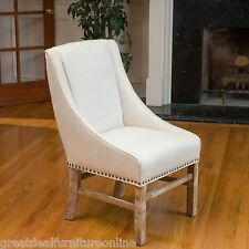 Dining Room Linen Colored Fabric Dining Chairs w/ Studded Accent