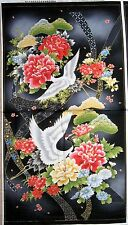 "23"" Fabric Panel - Red Rooster Akahana Oriental Japanese Crane & Metallic Floral"