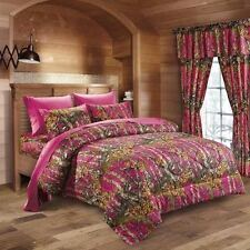 7PC PINK/FUCHSIA CAMO COMFORTER SHEET SET WOODS QUEEN SIZE CAMOFLAUGE BEDDING