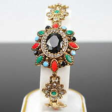 Women's Vintage Bohemia Chain Bracelet Crystal Colorful Resin Gold Plated Bangle