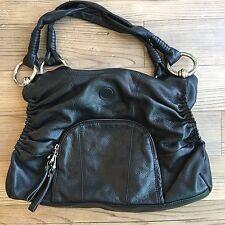 B. Makowsky Women's Black 100% Leather Shoulder Bag Silver Hardware Size Large