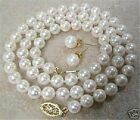 """8mm White Akoya Cultured Shell Pearl Necklace Earring Set 18"""" AAA+01"""